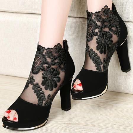 古奇天伦百年纪念  网纱高跟鞋 蕾丝鱼嘴女鞋 粗跟高跟女鞋子