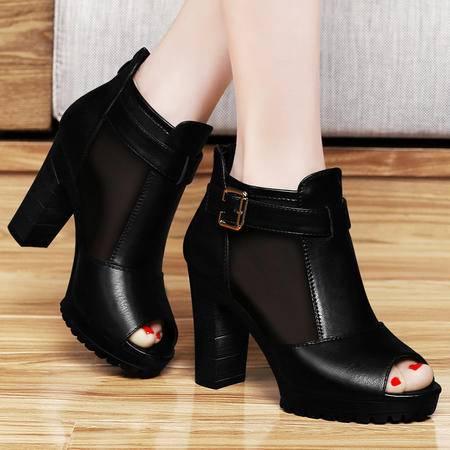古奇天伦百年纪念  网纱高跟鞋 时尚鱼嘴女鞋 粗跟高跟女鞋子
