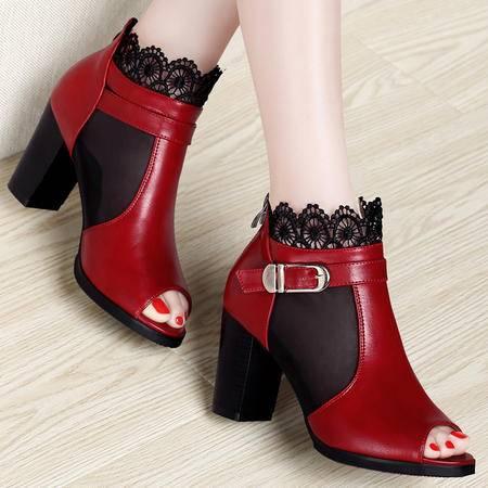 古奇天伦百年纪念  鱼嘴网纱女鞋 蕾丝高跟鞋 粗跟女鞋子