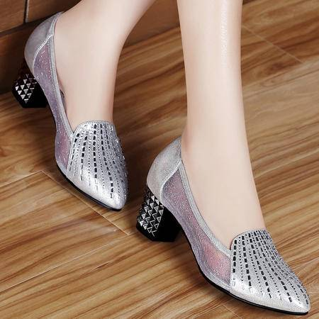 古奇天伦百年纪念  时尚网纱女鞋 浅口高跟鞋 尖头单鞋子