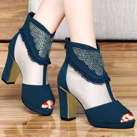 古奇天伦百年纪念  鱼嘴网纱女鞋 水钻高跟鞋 粗跟女鞋子