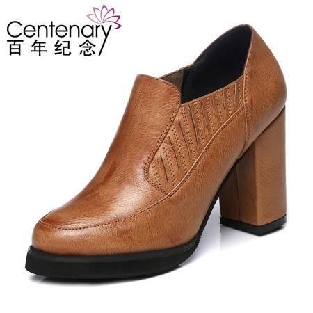 古奇天伦 百年纪念 1014 低帮女鞋 粗跟高跟鞋 休闲女鞋子