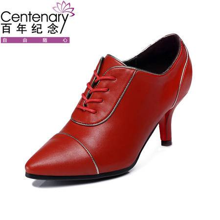 古奇天伦 百年纪念 1012 尖头高跟鞋 细跟低帮鞋 时尚系带女鞋子