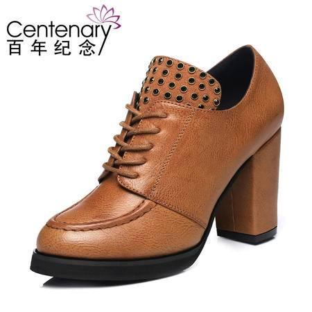 古奇天伦 百年纪念 1009 粗跟高跟鞋 休闲低帮女鞋 时尚铆钉女鞋子