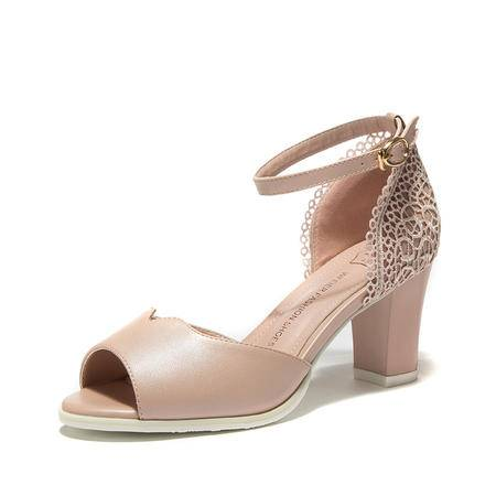王菲儿2015夏季新款单鞋甜美粗跟一字扣蕾丝凉鞋女透气高跟鞋