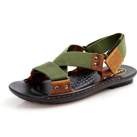 马威斯途2015夏季新款时尚休闲凉拖 编织帆布罗马凉鞋男潮鞋沙滩鞋男鞋子