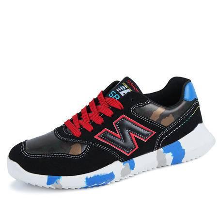 马威斯途春季新款板鞋内增高厚底运动休闲鞋韩版潮流男鞋子男拼色迷彩潮鞋