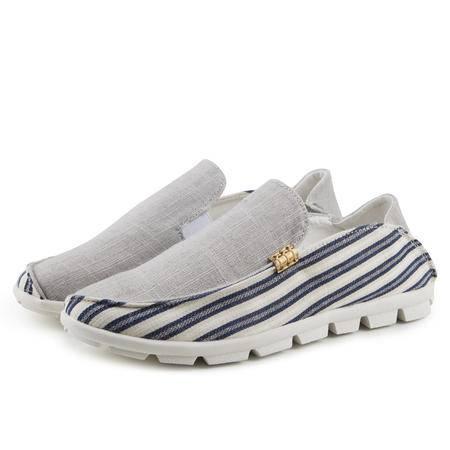 马威斯途春夏季帆布鞋男士韩版低帮潮流青少年休闲学生板鞋一脚蹬懒人鞋子