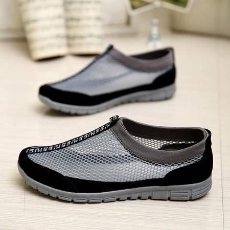 马威斯途春夏季透气网面鞋镂空男凉鞋懒人潮套脚板鞋韩版运动男士休闲鞋子