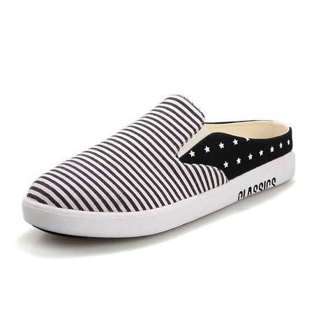 马威斯途夏季新款 个性男士半拖鞋包头休闲凉拖韩版潮流帆布懒人套脚男鞋