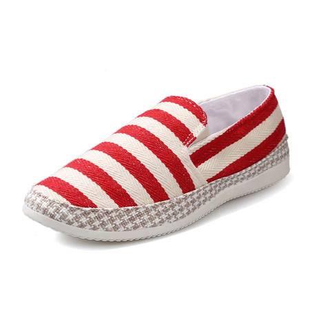 马威斯途2015春款男士帆布鞋 条纹布低帮一脚蹬懒人鞋 男士休闲布鞋男韩版