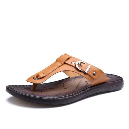 马威斯途夏季潮流人字拖男防滑韩版凉拖耐磨男士拖鞋超纤皮夹趾防水沙滩鞋