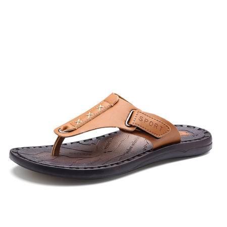 马威斯途超纤皮人字拖男士凉拖鞋韩版耐磨防水沙滩鞋防滑凉拖夏季夹脚拖