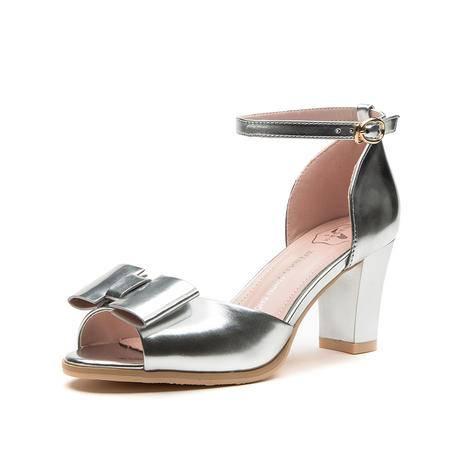 王菲儿2015新款夏季低跟凉鞋时尚一字扣蝴蝶结可爱女鞋粗跟凉鞋