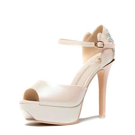 王菲儿2015新款凉鞋女鱼嘴高跟 夏 夜店细跟水钻罗马女鞋防水台