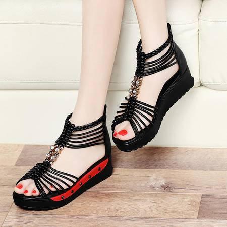 古奇天伦  串珠凉鞋 时尚女鞋 平跟鞋子