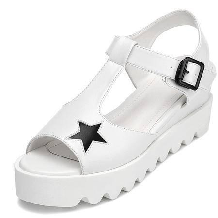 古奇天伦  鱼嘴厚底女鞋 休闲凉鞋 金属扣女鞋子