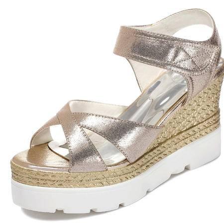 古奇天伦  魔术贴女鞋 坡跟凉鞋 防水台女鞋子