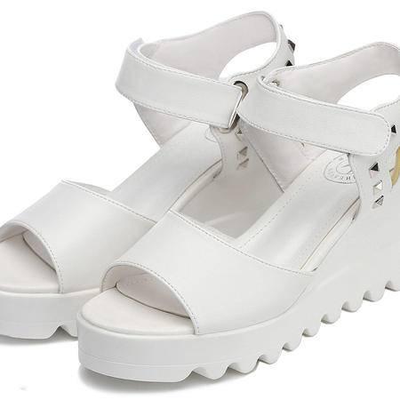 古奇天伦  鱼嘴铆钉女鞋 厚底坡跟凉鞋 防水台女鞋子