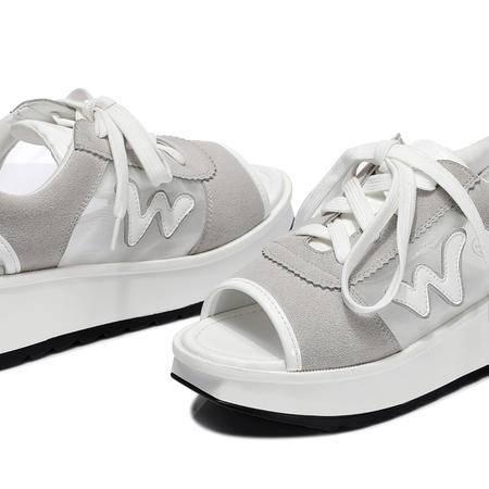 古奇天伦  鱼嘴厚底女鞋 休闲平底鞋 系带女鞋子