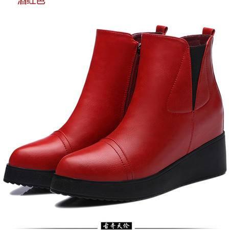 古奇天伦 厚底高帮鞋 内增高女鞋 铆钉女鞋子