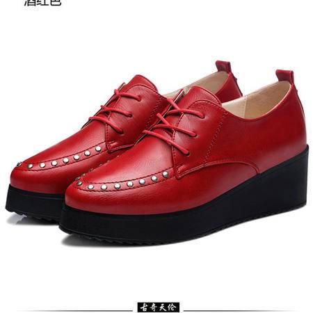 古奇天伦 厚底铆钉女鞋 低帮防水台女鞋 系带女鞋子