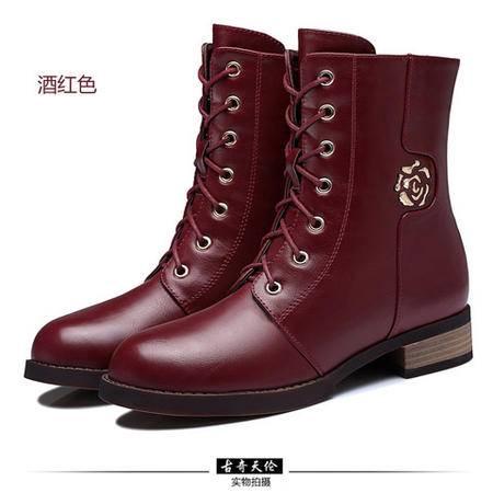 古奇天伦 侧拉链女鞋子圆头短筒靴 粗跟女鞋子