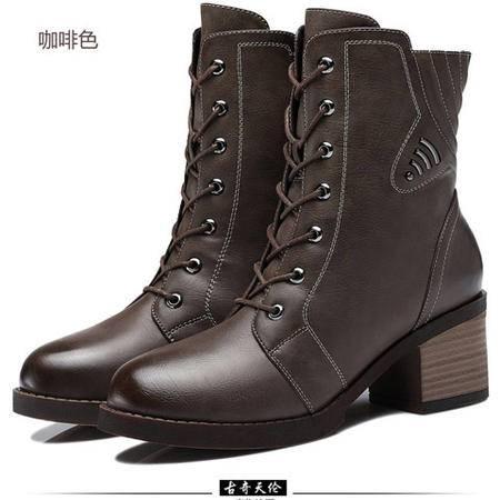 古奇天伦 侧拉链女鞋子圆头女靴 粗跟高跟鞋