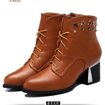 古奇天伦  粗跟高跟鞋 铆钉高帮鞋 系带女鞋子