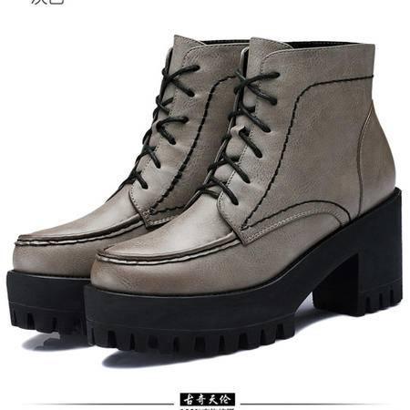 古奇天伦 系带女鞋靴厚底防水台女鞋 粗跟高跟鞋