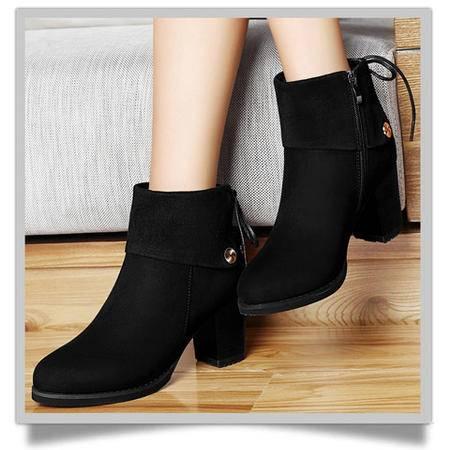 古奇天伦秋冬时尚新款粗跟女靴高跟鞋中筒靴马丁靴防水台女鞋