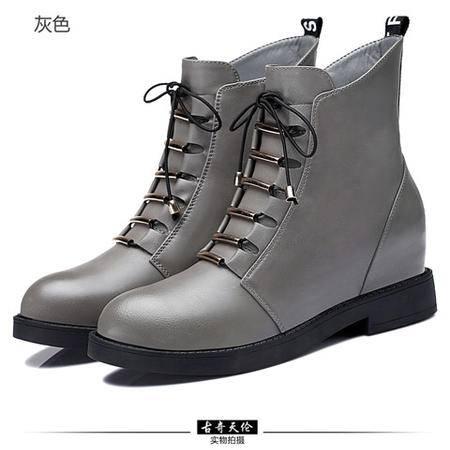 古奇天伦 侧拉链女靴子女鞋靴 圆头防水台女鞋 内增高女靴