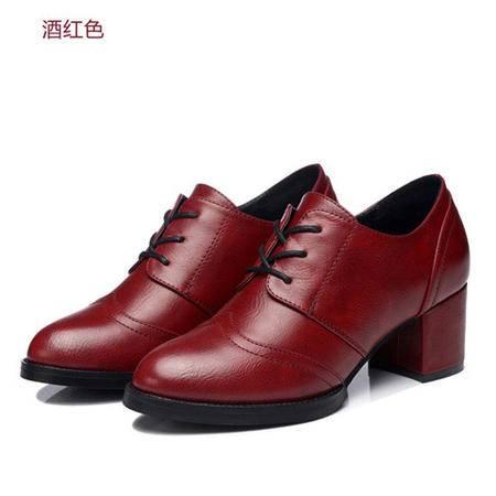 古奇天伦 圆头单鞋 粗跟高跟鞋 休闲女鞋子