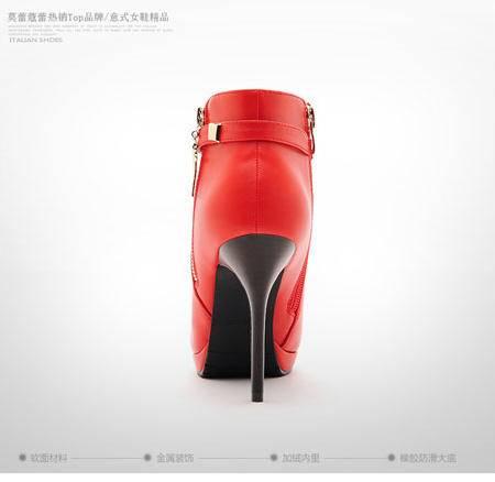 莫蕾蔻蕾秋冬防水台保暖细跟欧美性感英伦尖头超高跟短靴女
