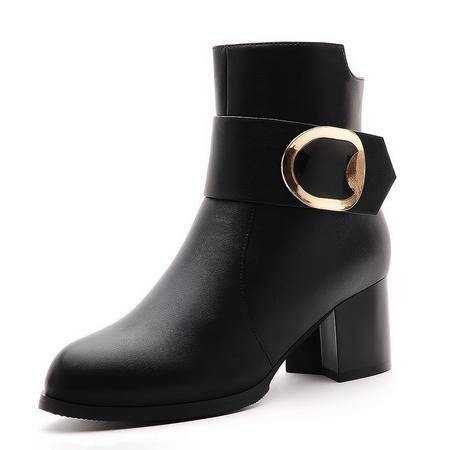 莫蕾蔻蕾新款女士短靴马丁靴粗跟短筒靴时尚高跟靴子