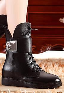 莫蕾蔻蕾冬季马丁靴头层牛皮女真皮中筒靴女靴子英伦潮平底机车靴