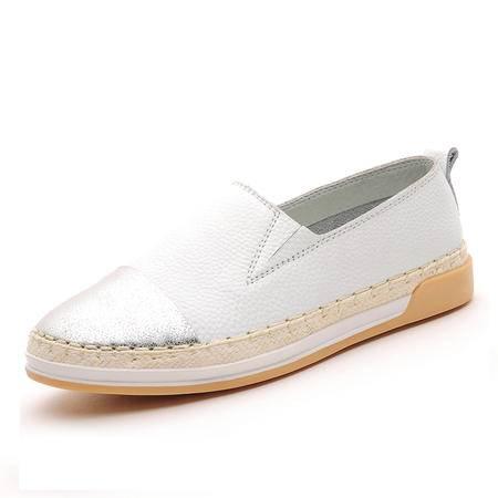 莫蕾蔻蕾 秋季时尚新款圆头单鞋低跟平底女鞋乐福懒人鞋
