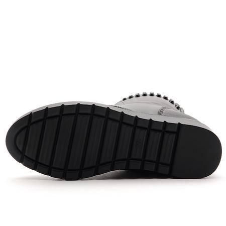 莫蕾蔻蕾 新品平跟中筒靴铆钉内增高女靴子时尚女鞋
