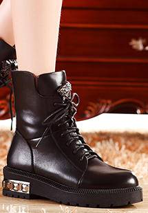 莫蕾蔻蕾 秋冬新款英伦中跟女鞋圆头女靴短靴马丁靴
