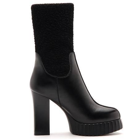 莫蕾蔻蕾厚底粗跟高跟短靴女潮真皮弹力靴秋冬新款欧美女靴子
