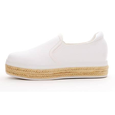 莫蕾蔻蕾秋新款女鞋懒人鞋子内增高女鞋厚底平底休闲鞋单鞋女