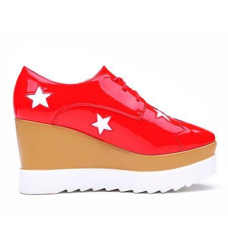 莫蕾蔻蕾休闲鞋厚底单鞋平底鞋女秋季女鞋内增高松糕鞋系带