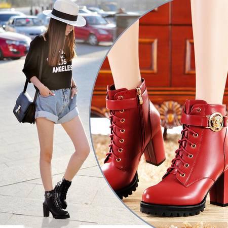 莫蕾蔻蕾马丁靴潮女短靴秋冬短筒女鞋英伦风防水台高跟鞋粗跟