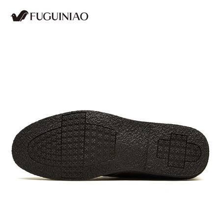 富贵鸟男士真皮头层牛皮冬季加绒保暖棉鞋商务休闲高帮鞋