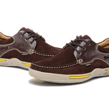 鳄鱼休闲英伦时尚帆船鞋低帮工装鞋男鞋秋冬季休闲皮鞋反绒皮