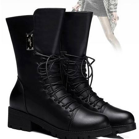 古奇天伦马丁靴女中筒靴平跟女靴英伦风圆头靴子潮