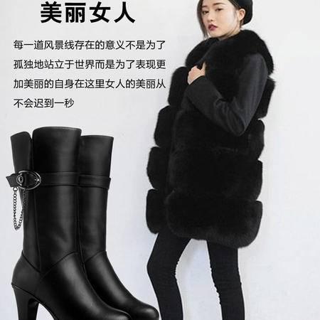 古奇天伦粗跟高跟靴金属装饰女靴子圆头中靴高筒靴