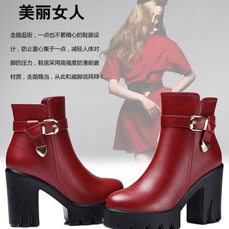 古奇天伦防水台女靴粗跟高跟短筒马丁靴潮女短靴厚底