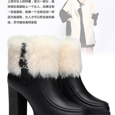 古奇天伦短筒学生冬靴雪地靴女鞋加绒短靴秋上新高跟粗跟