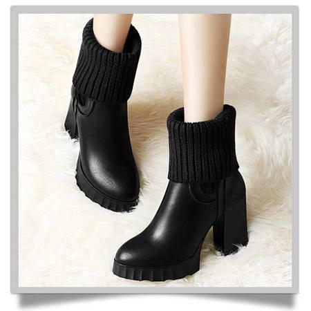 古奇天伦高跟秋冬新品保暖女靴子厚底防水台女靴冬靴短靴粗跟